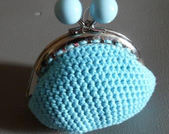 Blue coin purse crochet