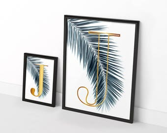 Two original posters gilded on Palms - customizable letter of your choice