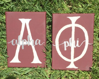 Customizable hand painted greek letter sorority canvases