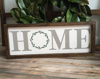 Home Wood Sign | Framed Home Wood Sign | Rustic Wood Sign | Housewarming Sign |
