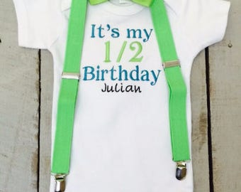 Half Birthday Outfit, Baby Boy Outfit with Suspenders , Baby Bow Tie, Photo Prop, Personalized, Embroidered, Baby Gift