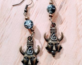 tribal mask earrings
