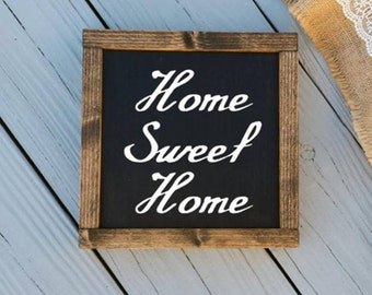 11x11 Home Sweet Home Sign - Home Sweet Home Framed Sign - Rustic Wood Signs - Home Wood Sign - Black Home Sweet Home Sign - Farmhouse Decor