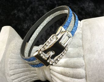 Bracelet with a jewel in blue and silver glitter leather rhinestone buckle