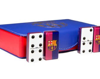 Barcelona Jumbo Domino Double Six, 5 Coats 100% Acrylic. Faux Leather Case