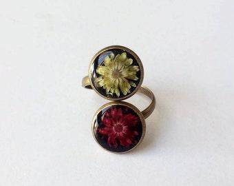 real flower ring, red flower ring, yellow flower ring, nature jewelry, floral ring, flower jewelry, flower ring, gift for her