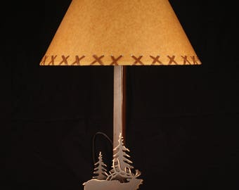 """FREE SHIPPING: Elk Lamp with Trees and 16"""" Oilcraft Laced Shade, Copper Patena Finish, Made in America!, Log Cabin Style,"""