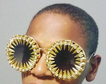 Ultimate Sunglasses, Rhinestone Glasses, Coachella glasses, steampunk Sunglasses, burning man mask, Festival Goggles, mask, Bullet Glasses