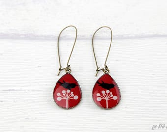Earrings red black and white #1116