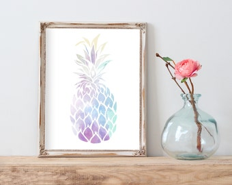 Pineapple Printable, Pineapple Wall Art, Wall Art Kitchen Decor, Watercolor Pineapple, Tropical Print, Pineapple Poster, Best Selling Items