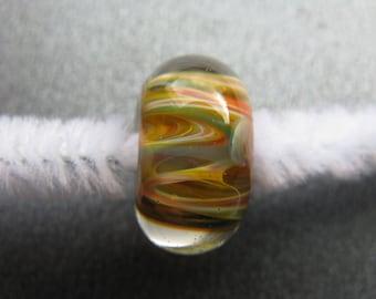 BORO Lampwork Focal Bead, Lampwork Focal Bead, Rainbow Lampwork Bead, Orange, Yellow, Teal, Green, Red, White, Coral, OOAK Lampwork- HGD3065