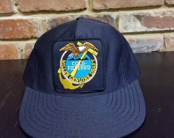 Vintage Navy Miller Genuine Draft Snapback Hat