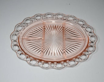 Hocking glass, Pink, Depression Glass, OLD COLONY, Lace edge, open lace, Platter, Serving plate, Divided plate, 5Part, 1930s, good condition