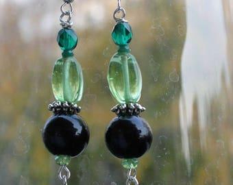Green and black Murano vintage style handmade glass pendant earrings