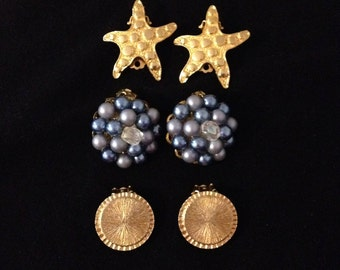 3 Pair of Vintage Faceted Rhinestone & Blue Cluster Beaded Clip on Earrings Gold Tone Starfish and Circles Clasp Costume Jewelry