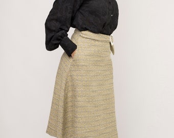 Skirt flared, Midi length, Decorative belt with a side buckle detail, Jacquard