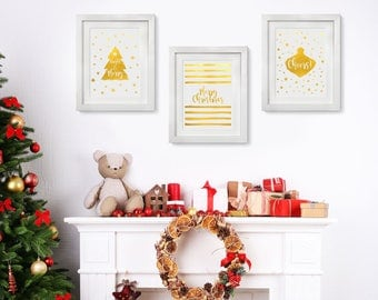 Real Foil Christmas Wall art, Gold Foil, Holiday Decoration, Actual Foil Print, Holiday Wallart, Modern Gold Decor, Bright & Merry, Cheers