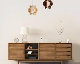 "Wood Lamp / Wooden Lamp Shade / Hanging Lamp / Pendant Light / Decorative Ceiling Lamp / Scandinavian Style Lamp / Modern Lamp / ""Aguona"""