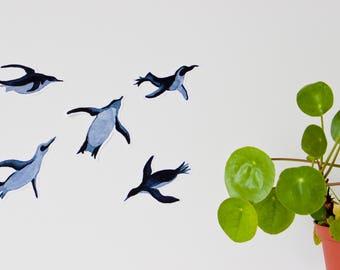 blue watercolor penguins / set of 5 stickers