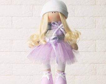 Handmade doll with blonde hair  Birthday gift  Unique gift for baby Tilda doll Decor doll Fabric doll Rag doll Christmas gift