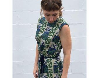 SML | 1950's Blue & Green Barkcloth Linen Sheath Dress by Kay Ashton