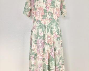 1970s Vintage Dapper Day Dress Tea Dress Romantic Spring Flower Dress Swing Dress Pinup Dress Housewife Dress Vintage Dresses for Women