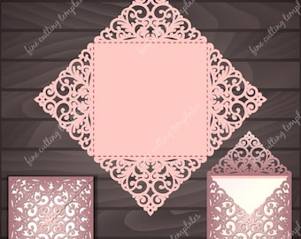 Wedding invitation template with patterned corners. Laser or die cutting. Digital Instant Download. (svg, dxf, eps10, studio3)