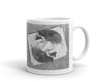 Hedgehog Escher Paws Drawing Paws Mug A Pricklepants Original by Urchin Wear