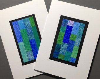 Stained glass quilt blank cards (set of 2), original art, individually made from hand-painted papers: A6, fine card, notecard, SKU BLA61006
