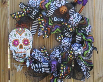One of a Kind Dia de Los Muertos Halloween Wreath  85USD.