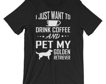 Golden Retriever Coffee, Golden Retriever Shirt Womans, Coffee Dog Shirt, Golden Retriever Tshirt, Golden Retriever Lover Gift