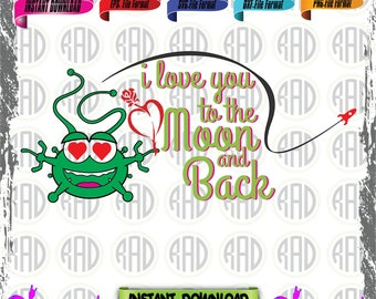 I Love you to the moon and back, Cut Files, EPS, SVG, PNG, Vector