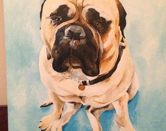 Custom pet portrait in acrylic