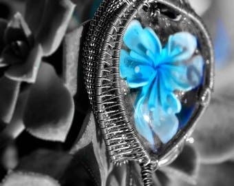 Double Sided Glass Flower Pendant