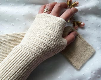 """11"""" Creme Fingerless Knitted Arm Sleeves, Arm Warmers, Arm Gloves, Arm Covers for Girls & Women"""