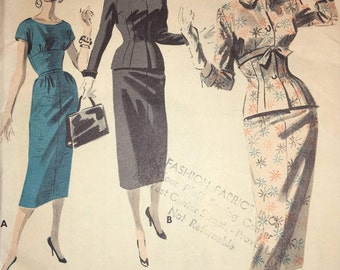 Butterick 7986 Slender Dress and Jacket Ensemble 1950s