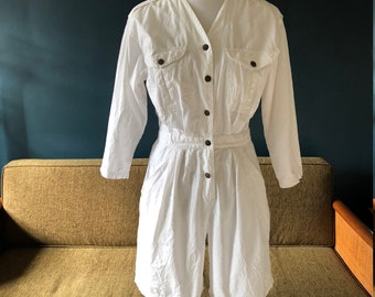 1980s vintage DVF Diane Von Furstenberg white cotton nautical jumpsuit
