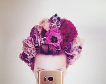 Handmade Blush Pink Floral Crown Headpiece with Gems
