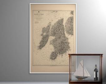 Isle of Islay   Old Map of Islay – Print –West Coast of Scotland, Vintage Scottish Nautical Sea Chart, Sailing Gift, Caol Ila, Bowmore