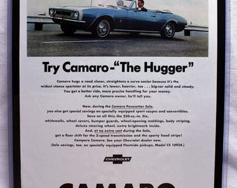 1967 Camaro advertisement, vintage advertisement, 14x11.5 muscle car art ready to hang on your wall. '67 was the first year of the Camaro