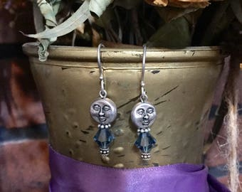 Silver moon face-charm teal glass-crystal and silver tone.