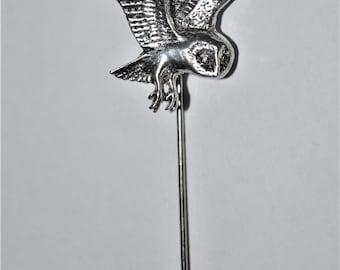 Barn Owl in Flight Lapel Stick Pin English Pewter, Handmade, Cravat, Tie Pin, GIFT BOXED, Bird of Prey
