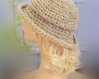 Floppy Sun Hat -  Floppy Hat -  Crochet Hat -  Hemp Hat -  Floppy Beach Hat -  Cool Summer Hat -  MONCHERIE Wide Brim Hat