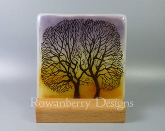 Tree Silhouettes at Sunset - Handmade Fused & Painted Glass Picture Plaque and Stand - Rowanberry Designs - Painting - Drawing - Art