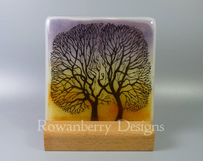 Featured listing image: Tree Silhouettes at Sunset - Handmade Fused & Painted Glass Picture Plaque and Stand - Rowanberry Designs - Painting - Drawing - Art