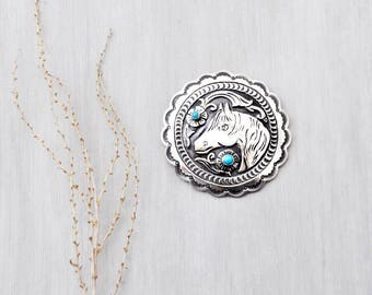 Vintage Sterling Silver Horse Brooch - big round scalloped concho pin or pendant with turquoise - by Lee Charley - Navajo Native American