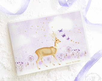Christmas card, deer card, reindeer, merry Christmas, holiday card, blank inside