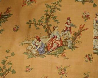 RARE Schumacher TOILE UPHOLSTERY fabric toile de Touy Toile Du Marche Gold Linen Cotton  fabric