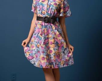 Vintage Jewel Tone Floral Garden Dress (Size SP/MP)