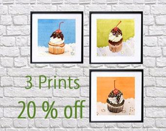 Dessert Wall Art, Cupcake Art Print, Cyber Week Sale, Kitchen Wall Art, cupcake painting, Dessert Illustrations, Dessert Painting, LaBerge